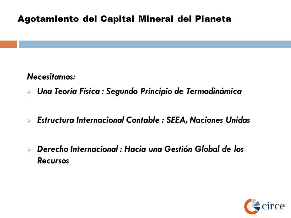 Agotamiento del Capital Mineral del Planeta Necesitamos: Una Teoría Física : Segundo Principio de Termodinámica Estructura Internacional Contable : SE