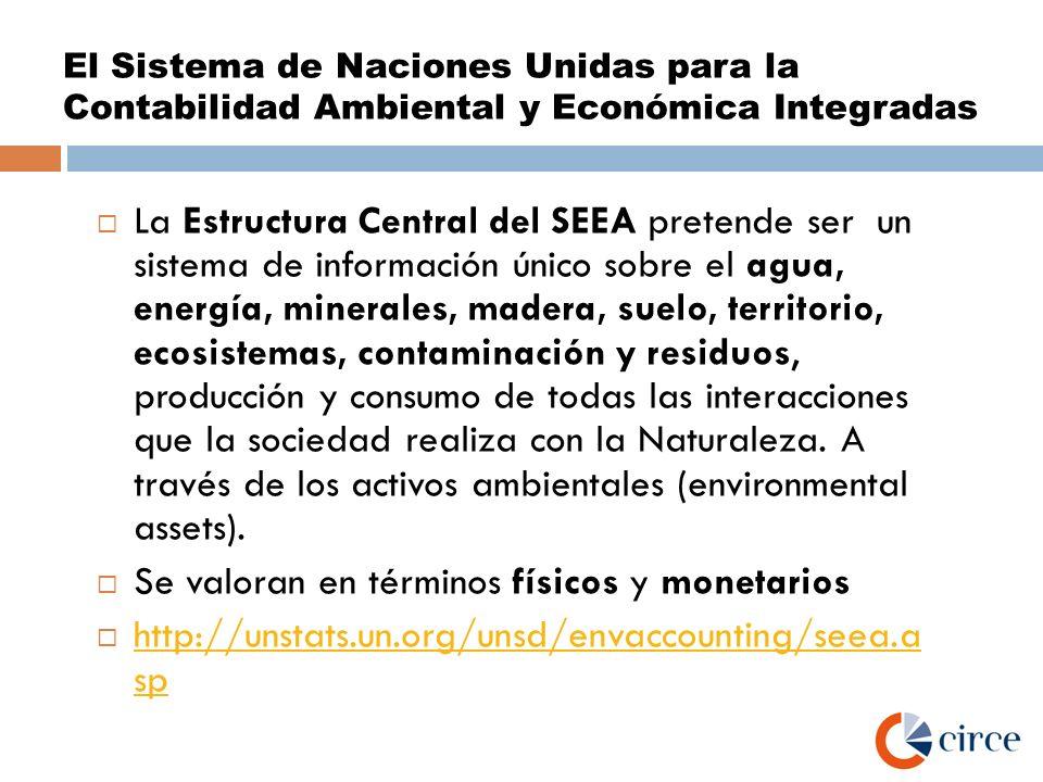 El Sistema de Naciones Unidas para la Contabilidad Ambiental y Económica Integradas La Estructura Central del SEEA pretende ser un sistema de informac