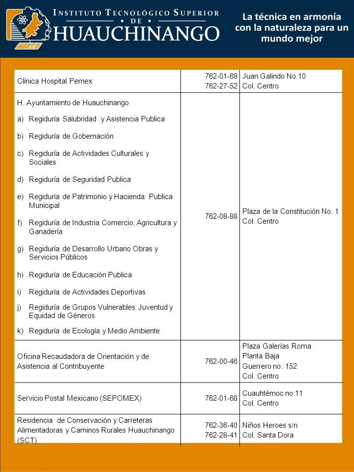 Centro de Readaptación Social (CERESO) Regional Huauchinango 762-23-00 762-78-99 Camino a Catalina s/n Col.