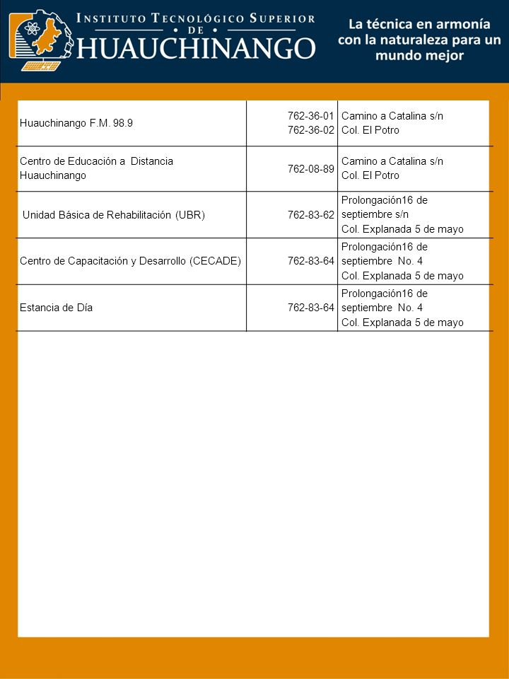 Huauchinango F.M. 98.9 762-36-01 762-36-02 Camino a Catalina s/n Col. El Potro Centro de Educación a Distancia Huauchinango 762-08-89 Camino a Catalin