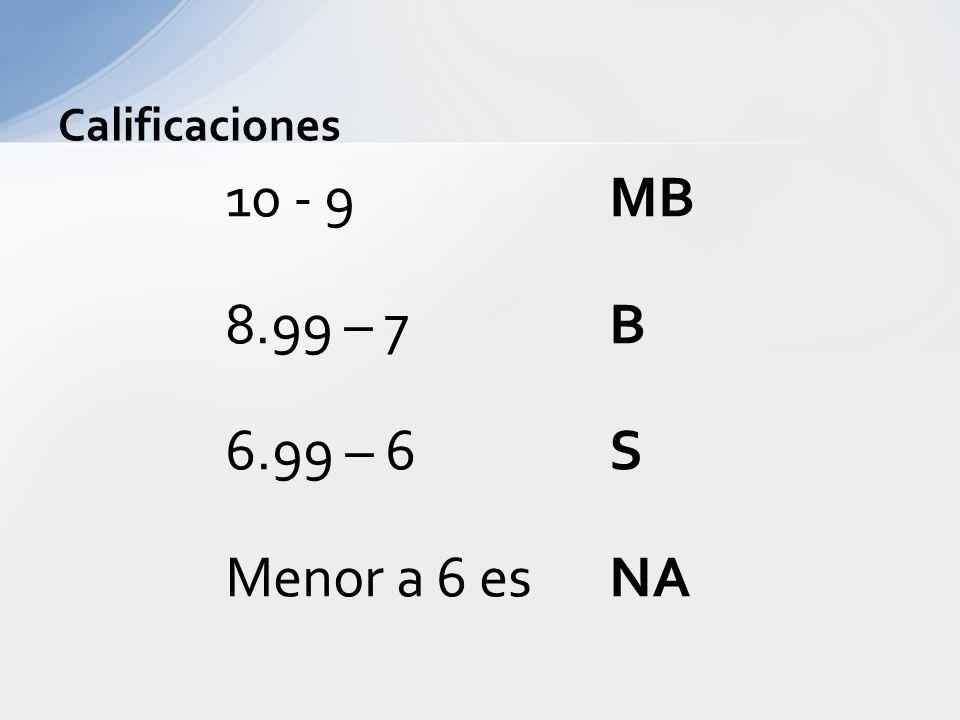 Calificaciones 10 - 9 MB 8.99 – 7 B 6.99 – 6 S Menor a 6 esNA