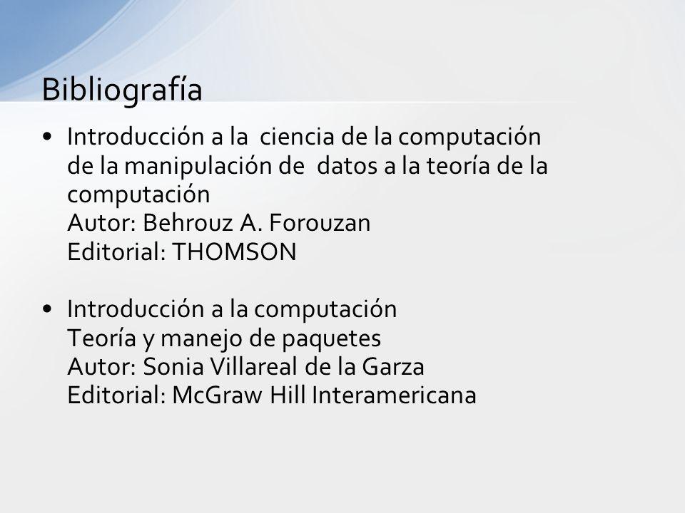 Bibliografía Introducción a la ciencia de la computación de la manipulación de datos a la teoría de la computación Autor: Behrouz A.