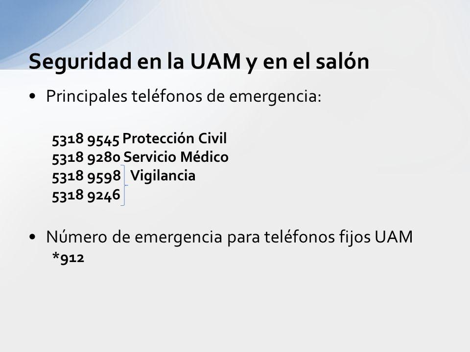 Seguridad en la UAM y en el salón Principales teléfonos de emergencia: 5318 9545 Protección Civil 5318 9280 Servicio Médico 5318 9598 Vigilancia 5318 9246 Número de emergencia para teléfonos fijos UAM *912