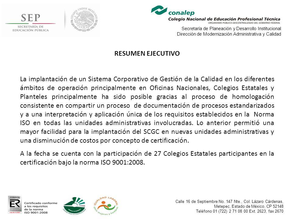 Secretaría de Planeación y Desarrollo Institucional Dirección de Modernización Administrativa y Calidad Calle 16 de Septiembre No.