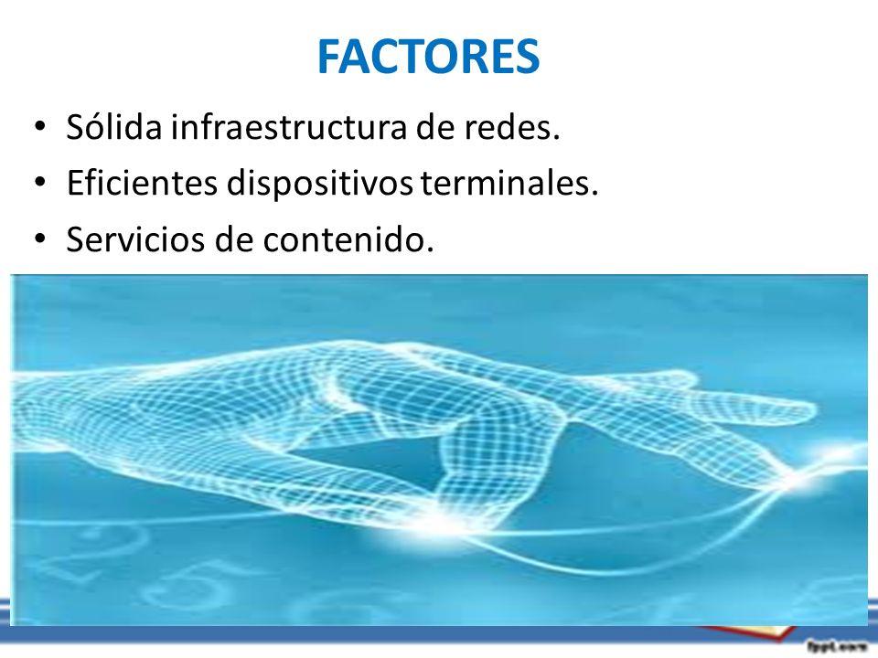 FACTORES Sólida infraestructura de redes. Eficientes dispositivos terminales. Servicios de contenido.