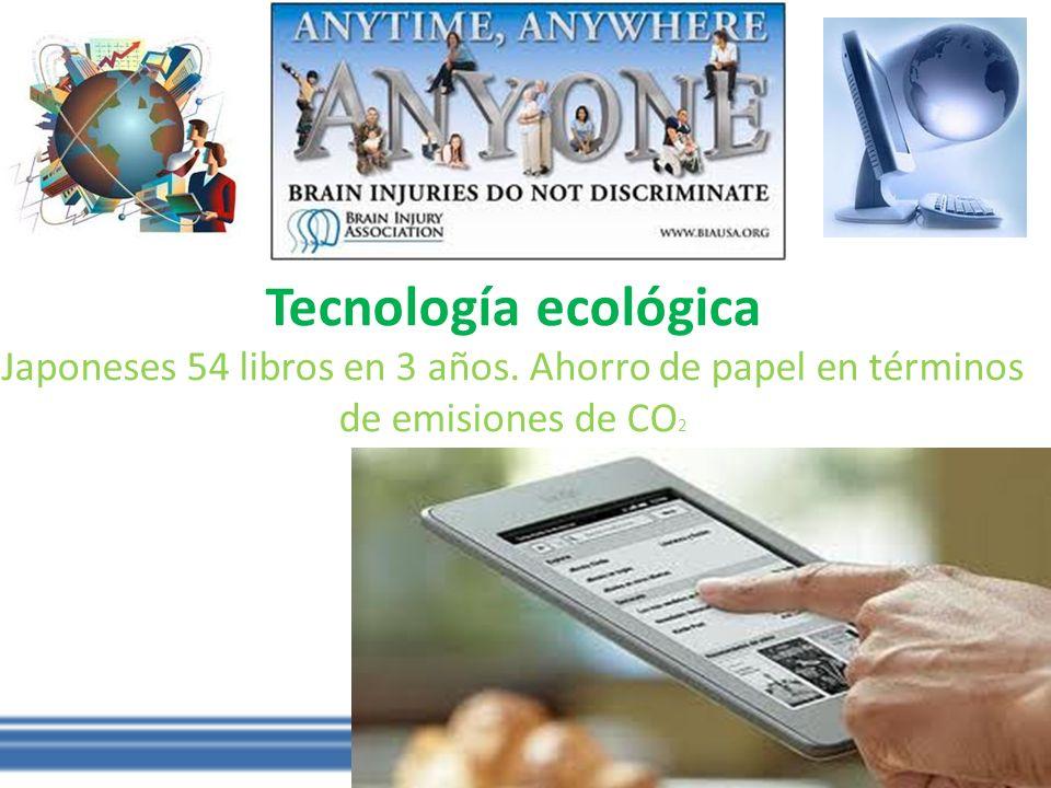 Tecnología ecológica Japoneses 54 libros en 3 años. Ahorro de papel en términos de emisiones de CO 2