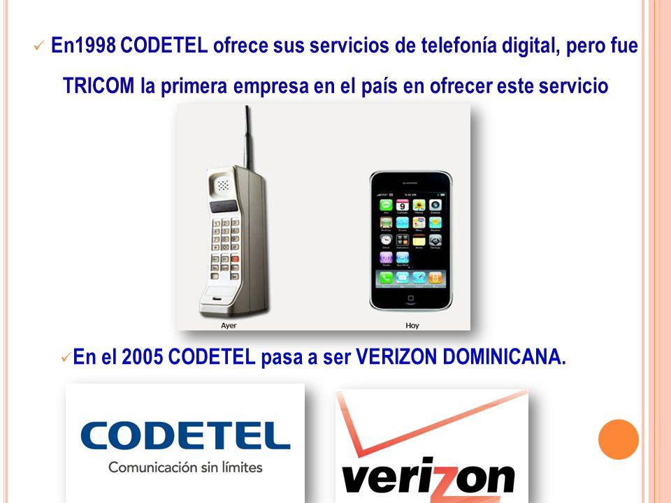 En1998 CODETEL ofrece sus servicios de telefonía digital, pero fue TRICOM la primera empresa en el país en ofrecer este servicio En el 2005 CODETEL pa