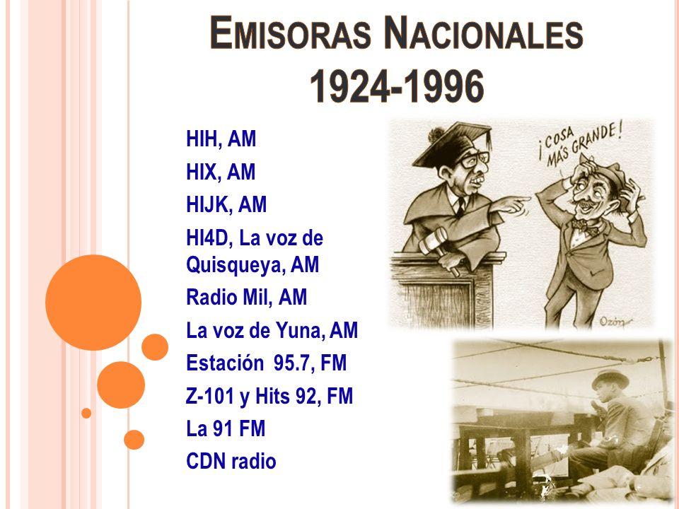 HIH, AM HIX, AM HIJK, AM HI4D, La voz de Quisqueya, AM Radio Mil, AM La voz de Yuna, AM Estación 95.7, FM Z-101 y Hits 92, FM La 91 FM CDN radio