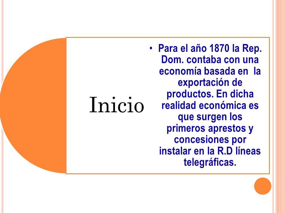 Inicio Para el año 1870 la Rep. Dom. contaba con una economía basada en la exportación de productos. En dicha realidad económica es que surgen los pri