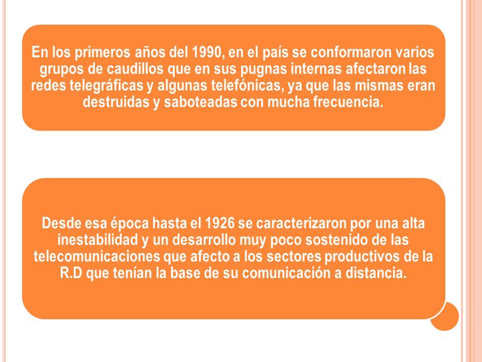 En los primeros años del 1990, en el país se conformaron varios grupos de caudillos que en sus pugnas internas afectaron las redes telegráficas y algu