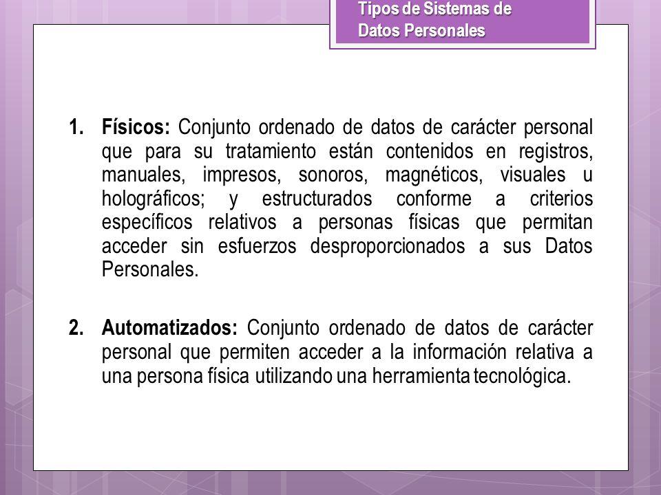 Tipos de Sistemas de Datos Personales 1.Físicos: Conjunto ordenado de datos de carácter personal que para su tratamiento están contenidos en registros