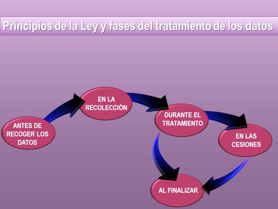 AL FINALIZAR EN LAS CESIONES DURANTE EL TRATAMIENTO ANTES DE RECOGER LOS DATOS EN LA RECOLECCIÓN Principios de la Ley y fases del tratamiento de los d