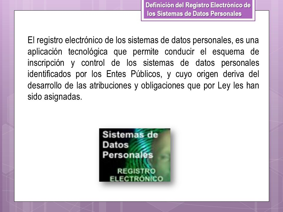 Definición del Registro Electrónico de los Sistemas de Datos Personales los Sistemas de Datos Personales El registro electrónico de los sistemas de da