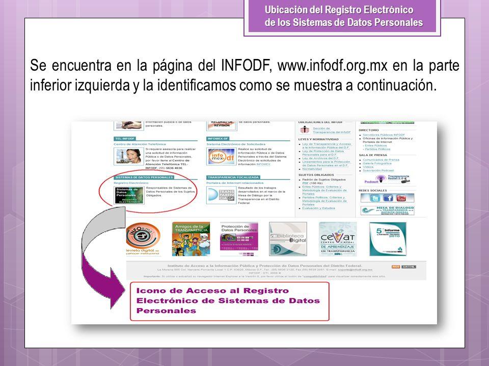 Ubicación del Registro Electrónico de los Sistemas de Datos Personales Se encuentra en la página del INFODF, www.infodf.org.mx en la parte inferior iz