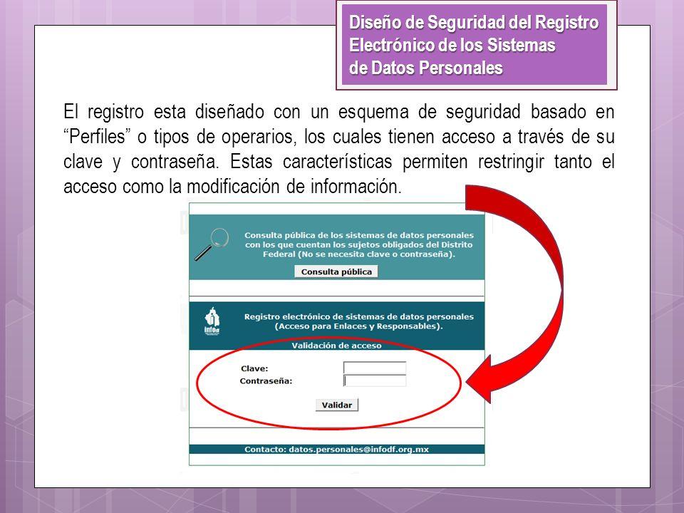 El registro esta diseñado con un esquema de seguridad basado en Perfiles o tipos de operarios, los cuales tienen acceso a través de su clave y contras