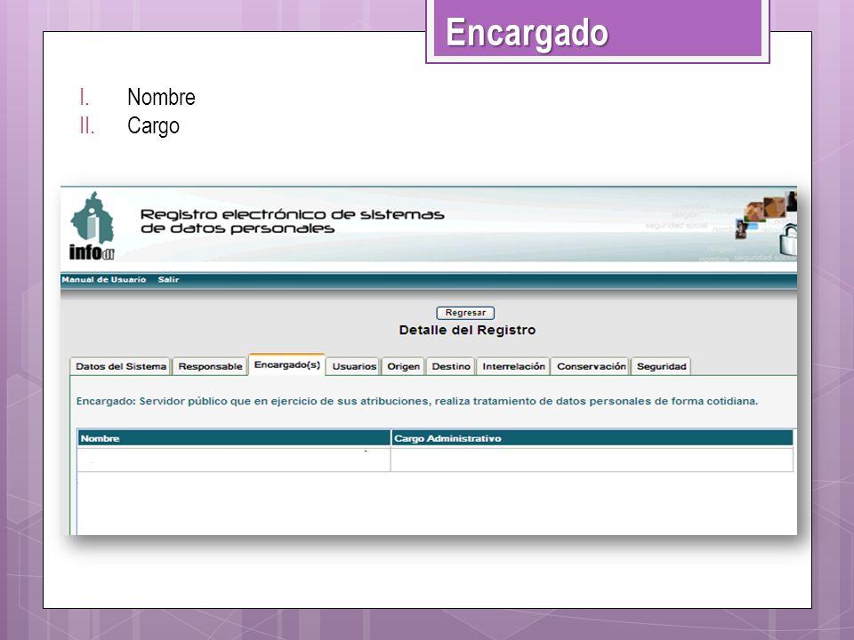 I.Nombre II.Cargo Encargado