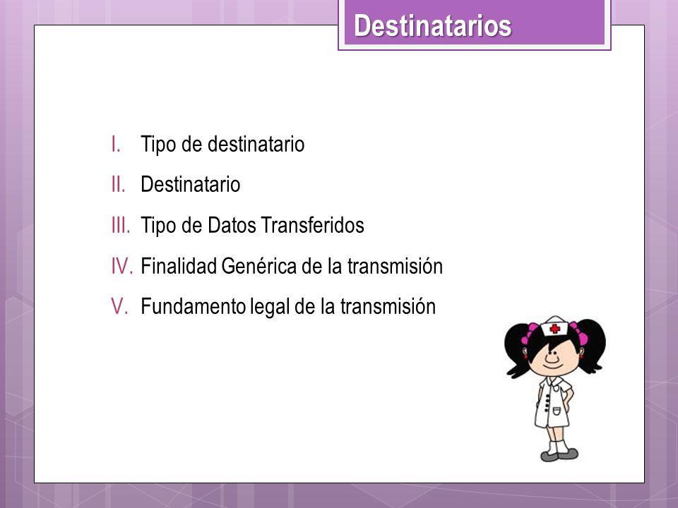 I.Tipo de destinatario II.Destinatario III.Tipo de Datos Transferidos IV.Finalidad Genérica de la transmisión V.Fundamento legal de la transmisión Des