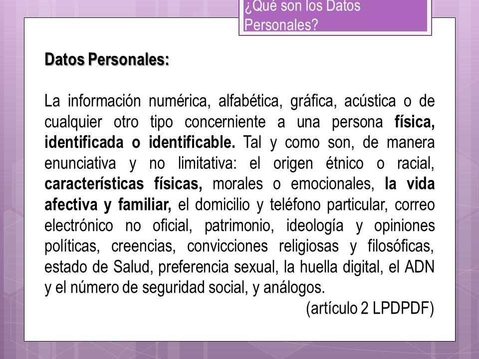 ¿Qué son los Datos Personales? Datos Personales: La información numérica, alfabética, gráfica, acústica o de cualquier otro tipo concerniente a una pe