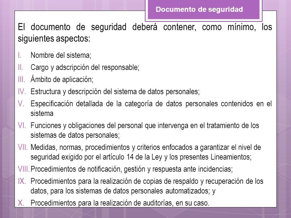 El documento de seguridad deberá contener, como mínimo, los siguientes aspectos: I.Nombre del sistema; II.Cargo y adscripción del responsable; III.Ámb