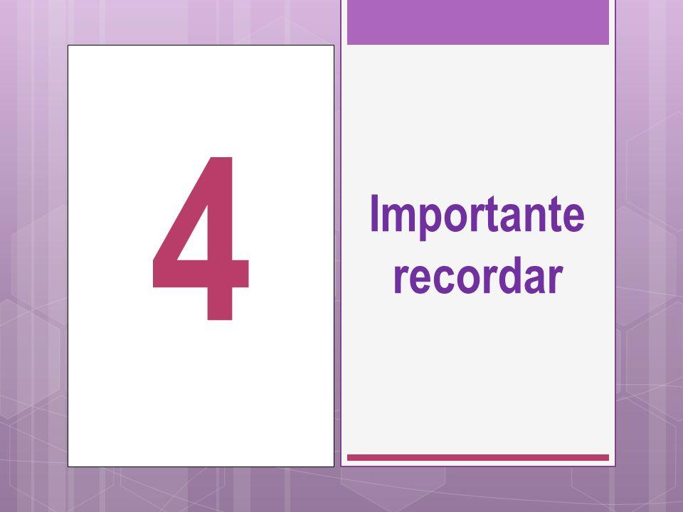 Importante recordar 4