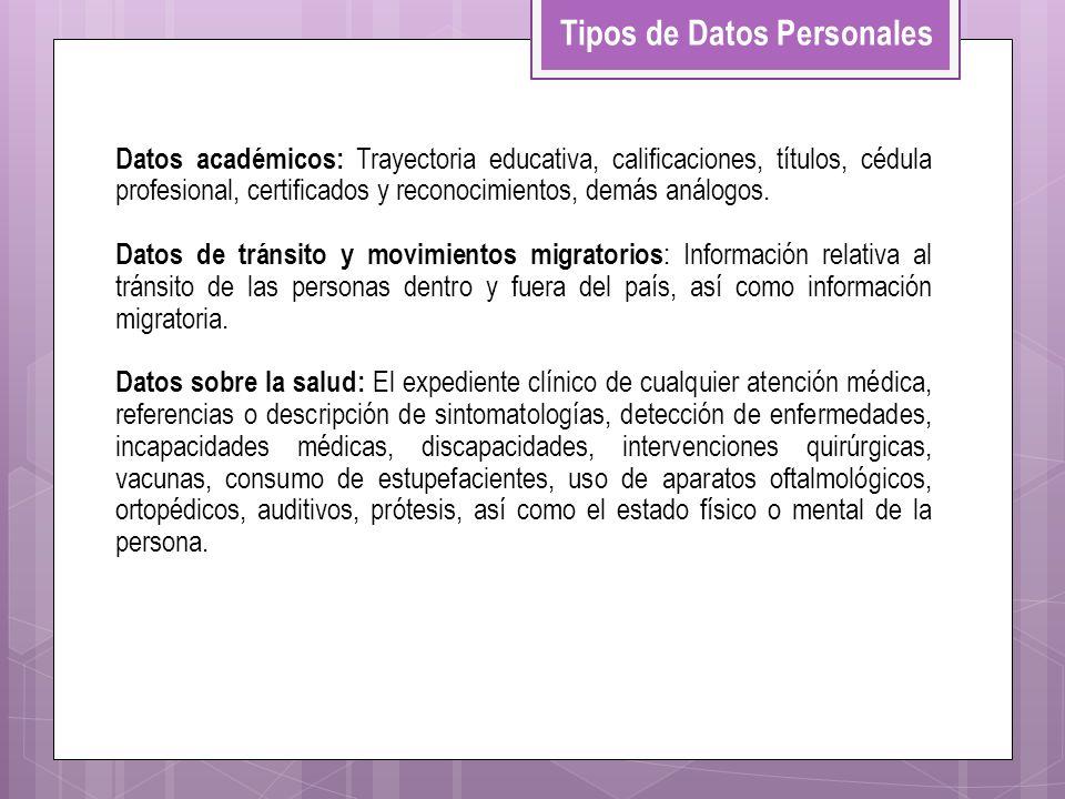 Datos académicos: Trayectoria educativa, calificaciones, títulos, cédula profesional, certificados y reconocimientos, demás análogos. Datos de tránsit