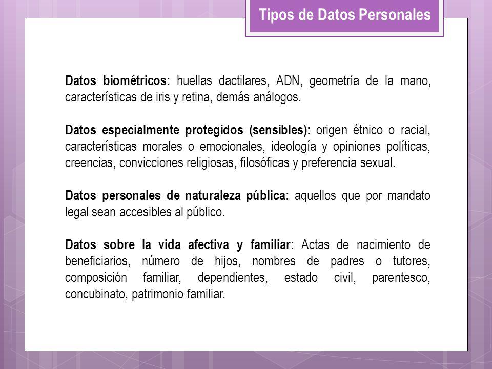 Datos biométricos: huellas dactilares, ADN, geometría de la mano, características de iris y retina, demás análogos. Datos especialmente protegidos (se