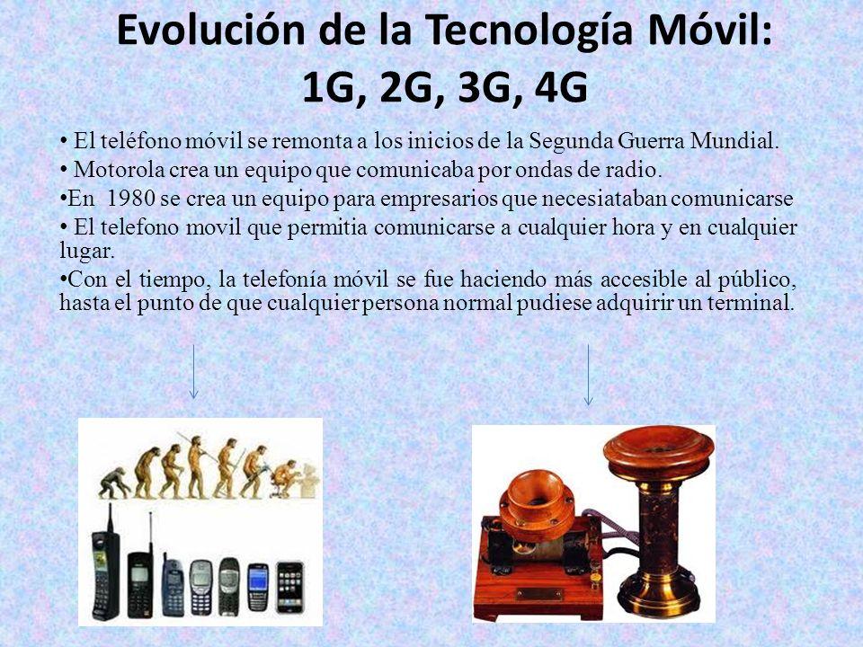 Evolución de la Tecnología Móvil: 1G, 2G, 3G, 4G El teléfono móvil se remonta a los inicios de la Segunda Guerra Mundial. Motorola crea un equipo que