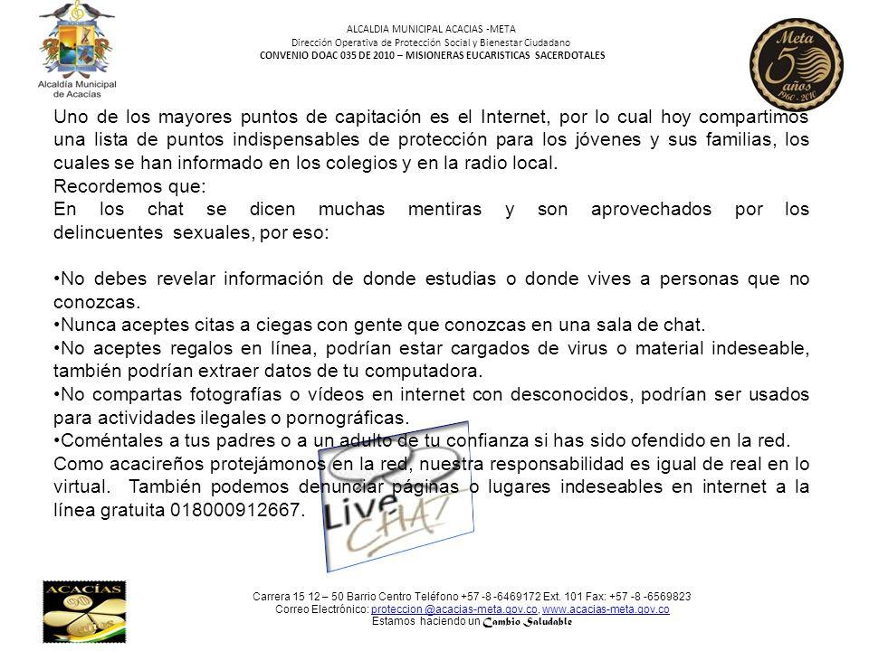 ALCALDIA MUNICIPAL ACACIAS -META Dirección Operativa de Protección Social y Bienestar Ciudadano CONVENIO DOAC 035 DE 2010 – MISIONERAS EUCARISTICAS SA