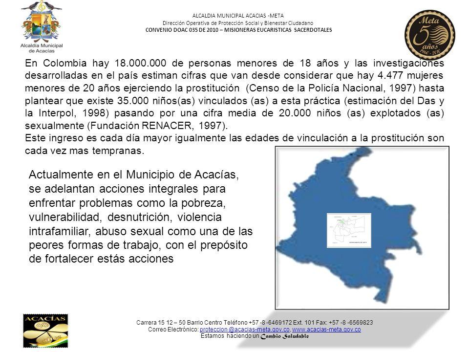Carrera 15 12 – 50 Barrio Centro Teléfono +57 -8 -6469172 Ext. 101 Fax: +57 -8 -6569823 Correo Electrónico: proteccion @acacias-meta.gov.co, www.acaci
