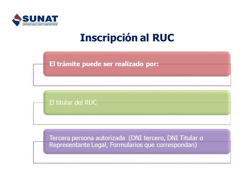 Inscripción al RUC El trámite puede ser realizado por:El titular del RUC Tercera persona autorizada (DNI tercero, DNI Titular o Representante Legal, F