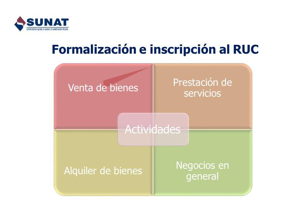 Formalización e inscripción al RUC Venta de bienes Prestación de servicios Alquiler de bienes Negocios en general Actividades