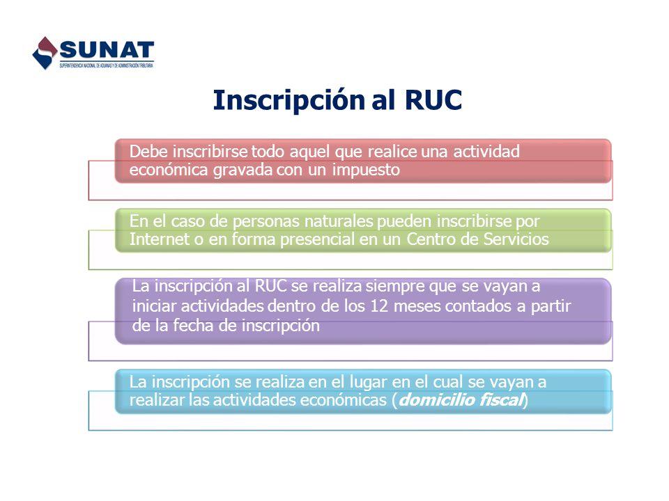 Inscripción al RUC Debe inscribirse todo aquel que realice una actividad económica gravada con un impuesto En el caso de personas naturales pueden ins