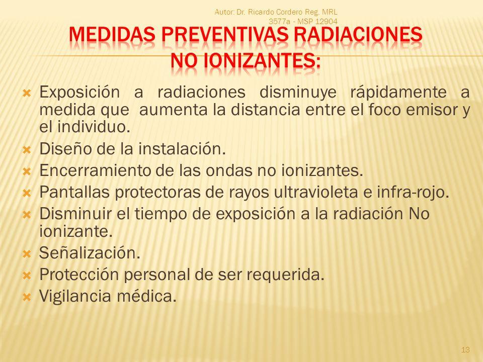 Exposición a radiaciones disminuye rápidamente a medida que aumenta la distancia entre el foco emisor y el individuo. Diseño de la instalación. Encerr