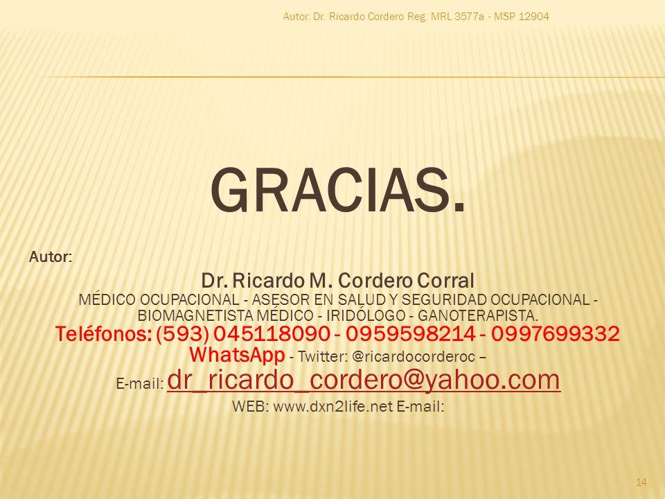 GRACIAS. Autor: Dr. Ricardo M. Cordero Corral MÉDICO OCUPACIONAL - ASESOR EN SALUD Y SEGURIDAD OCUPACIONAL - BIOMAGNETISTA MÉDICO - IRIDÓLOGO - GANOTE