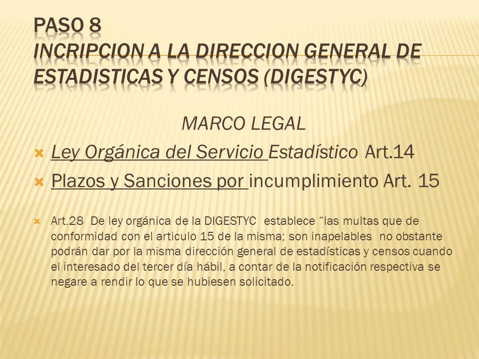 MARCO LEGAL Ley Orgánica del Servicio Estadístico Art.14 Plazos y Sanciones por incumplimiento Art. 15 Art.28 De ley orgánica de la DIGESTYC establece