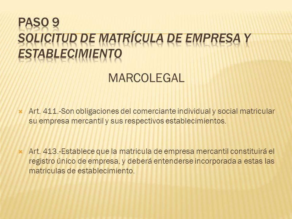 MARCOLEGAL Art. 411.-Son obligaciones del comerciante individual y social matricular su empresa mercantil y sus respectivos establecimientos. Art. 413