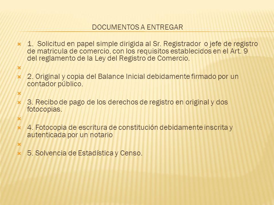 DOCUMENTOS A ENTREGAR 1. Solicitud en papel simple dirigida al Sr. Registrador o jefe de registro de matricula de comercio, con los requisitos estable