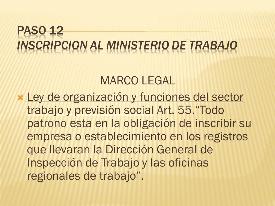 MARCO LEGAL Ley de organización y funciones del sector trabajo y previsión social Art. 55.Todo patrono esta en la obligación de inscribir su empresa o