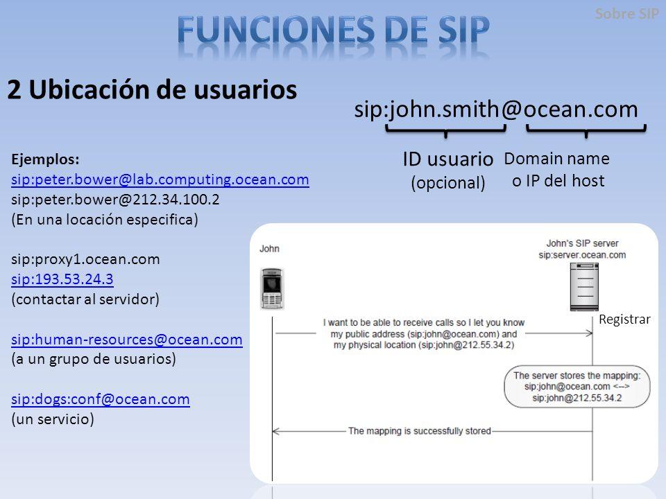 2 Ubicación de usuarios sip:john.smith@ocean.com ID usuario (opcional) Domain name o IP del host Ejemplos: sip:peter.bower@lab.computing.ocean.com sip:peter.bower@212.34.100.2 (En una locación especifica) sip:proxy1.ocean.com sip:193.53.24.3 (contactar al servidor) sip:human-resources@ocean.com (a un grupo de usuarios) sip:dogs:conf@ocean.com (un servicio) Registrar Sobre SIP