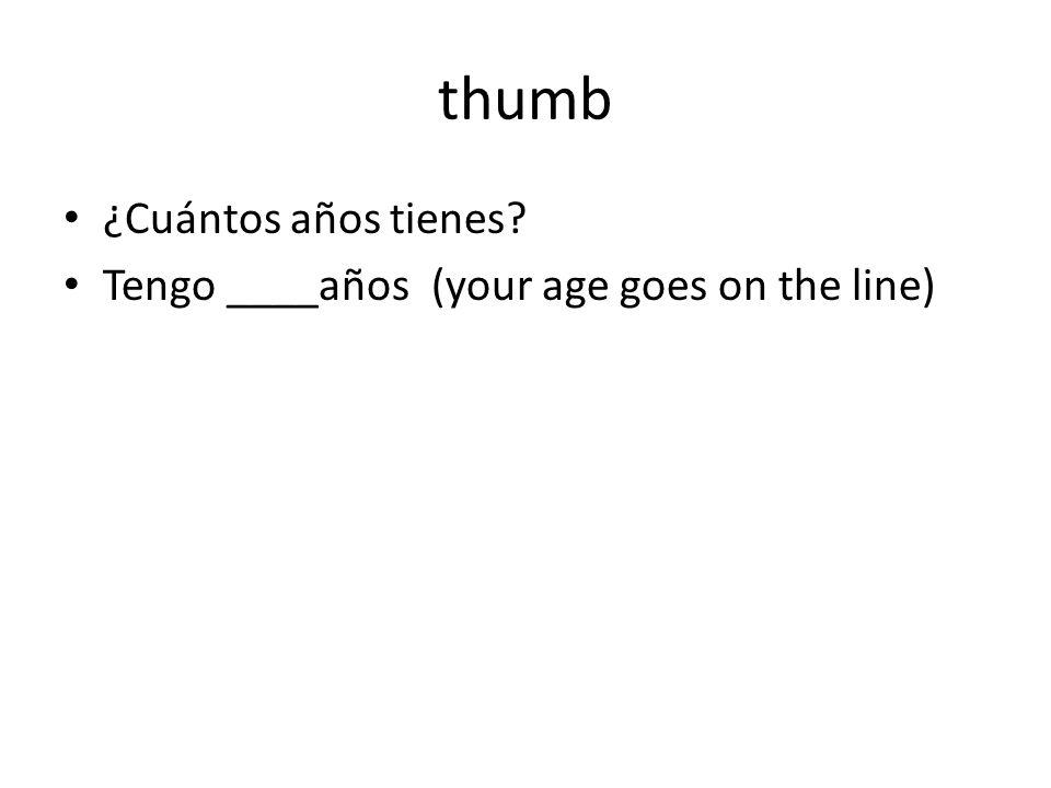 thumb ¿Cuántos años tienes Tengo ____años (your age goes on the line)