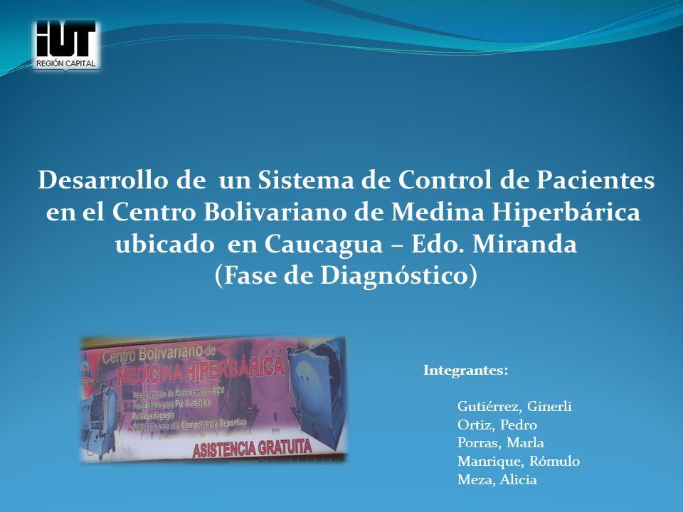 Integrantes: Gutiérrez, Ginerli Ortiz, Pedro Porras, Marla Manrique, Rómulo Meza, Alicia Desarrollo de un Sistema de Control de Pacientes en el Centro