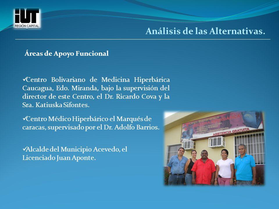 Análisis de las Alternativas. Áreas de Apoyo Funcional Centro Bolivariano de Medicina Hiperbárica Caucagua, Edo. Miranda, bajo la supervisión del dire