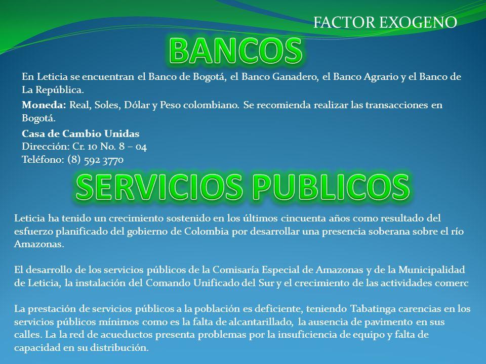 En Leticia se encuentran el Banco de Bogotá, el Banco Ganadero, el Banco Agrario y el Banco de La República. Moneda: Real, Soles, Dólar y Peso colombi