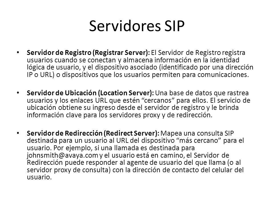 Servidores SIP Servidor de Registro (Registrar Server): El Servidor de Registro registra usuarios cuando se conectan y almacena información en la identidad lógica de usuario, y el dispositivo asociado (identificado por una dirección IP o URL) o dispositivos que los usuarios permiten para comunicaciones.