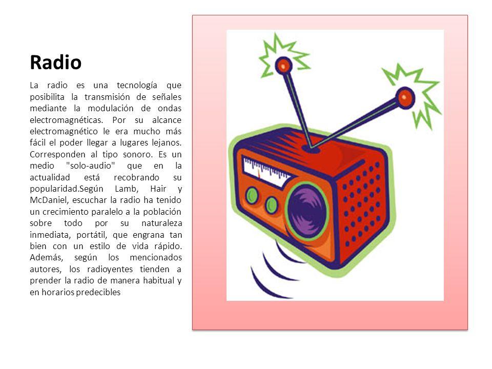 Radio La radio es una tecnología que posibilita la transmisión de señales mediante la modulación de ondas electromagnéticas. Por su alcance electromag
