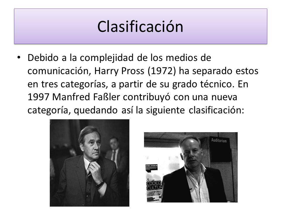 Clasificación Debido a la complejidad de los medios de comunicación, Harry Pross (1972) ha separado estos en tres categorías, a partir de su grado téc