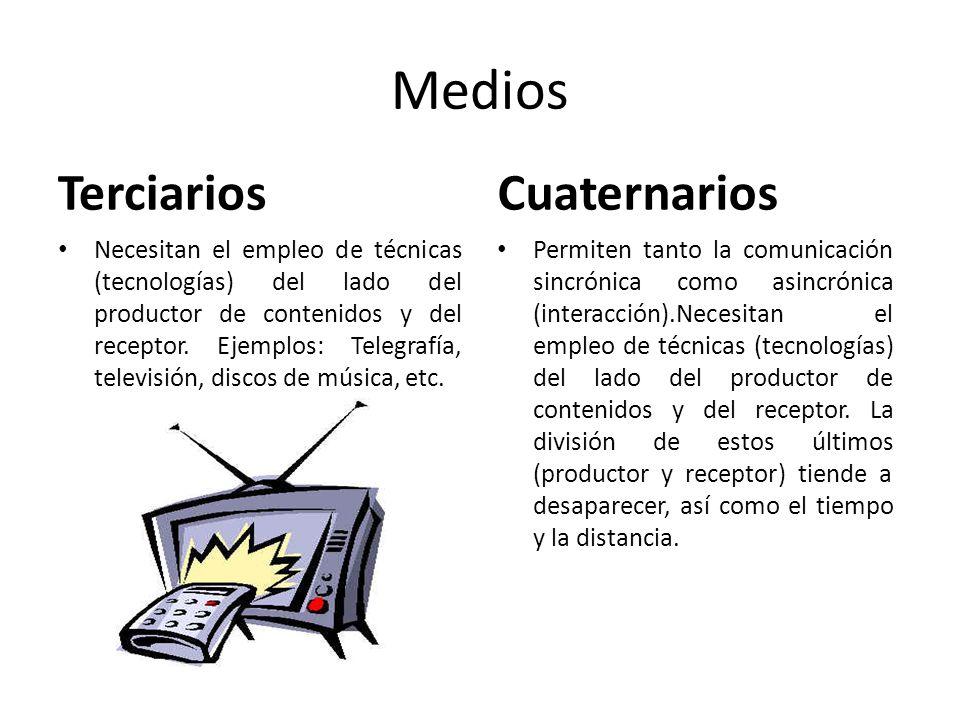 Medios Terciarios Necesitan el empleo de técnicas (tecnologías) del lado del productor de contenidos y del receptor. Ejemplos: Telegrafía, televisión,