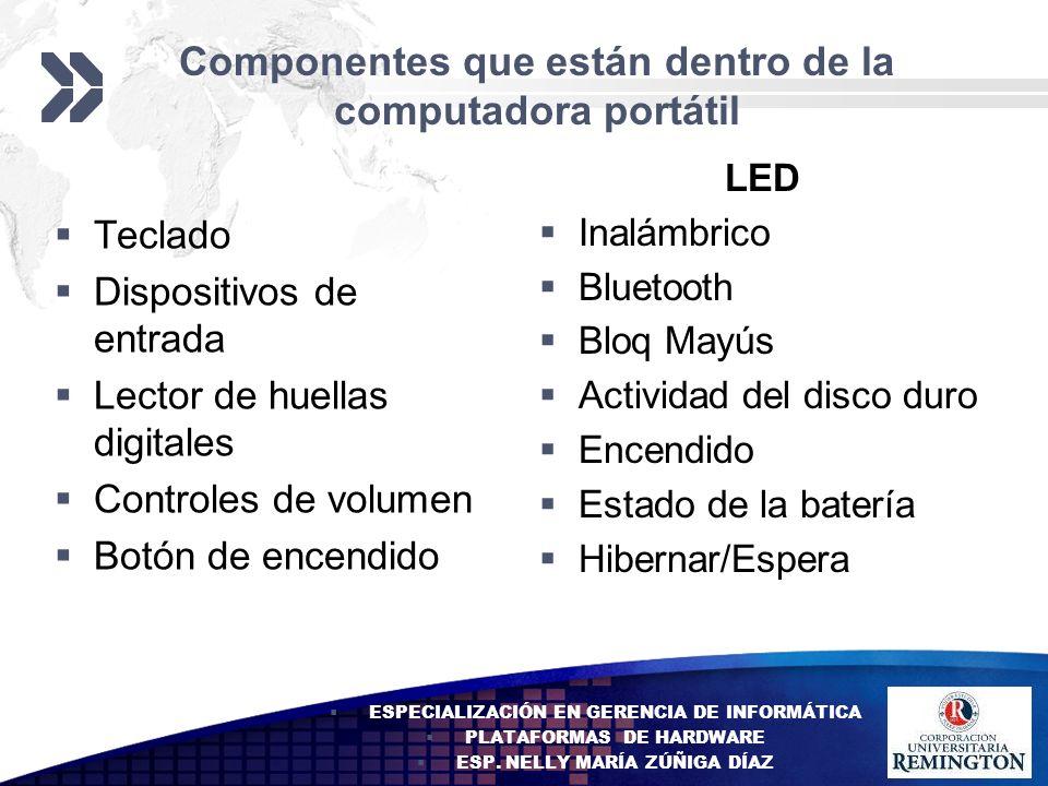 Add your company slogan LOGO Componentes que están dentro de la computadora portátil Teclado Dispositivos de entrada Lector de huellas digitales Contr