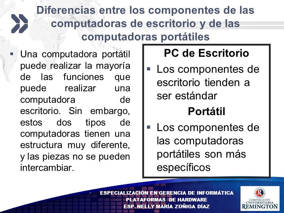 Add your company slogan LOGO Diferencias entre los componentes de las computadoras de escritorio y de las computadoras portátiles Una computadora port