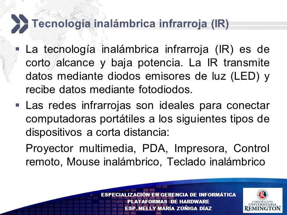 Add your company slogan LOGO Tecnología inalámbrica infrarroja (IR) La tecnología inalámbrica infrarroja (IR) es de corto alcance y baja potencia. La